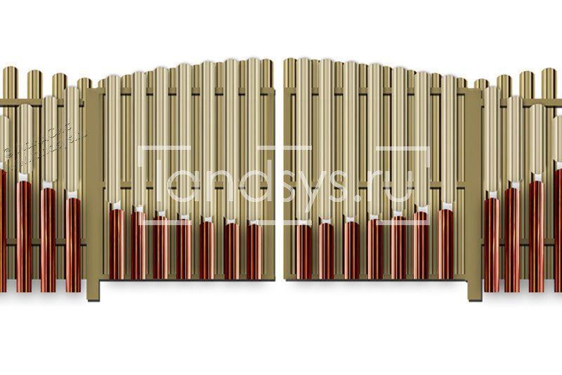 ворота дизайн евроштакетник красный бежевый